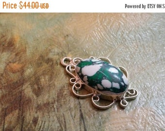 Holiday SALE 85 % OFF Mosaic Jasper Pendant  Gemstones  . 925 Sterling Silver Ethnic Tribal