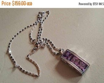 Holiday SALE 85 % OFF Amethyst  Necklace Pendant Set .925 Sterling  Silver Gemstone