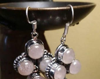 Holiday SALE 85 % OFF Rose Quartz Sterling silver Earrings Gemstone  .925