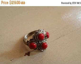 Holiday SALE 85 % OFF Size 8 Red Coral  Ring Gemstone. 925 Sterling  Silver