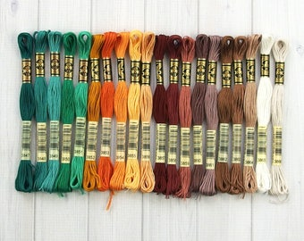 DMC Floss, Colors 3847-3866, 6-Strand Cotton Thread for Embroidery, Cross Stitch and Needle Arts
