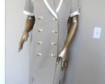 40% OFF Vintage 1980's Beige  Double Breasted Dress* Size Large . DANNY & NICOLE . Military . Dressy . Professional Woman . Classic . Eighti