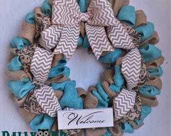 Turquoise N Natural Chevron Burlap Wreath, Welcome Wreath,  Turquoise Wreath, Summer Wreath, Wreath, Fall Wreath, Autumn Wreath