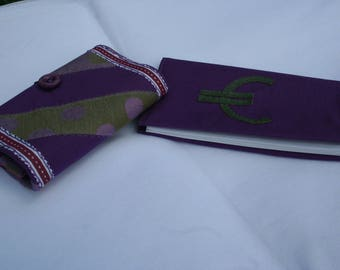 wallet - wallet and checkbook cover fabric - patchwork - purple