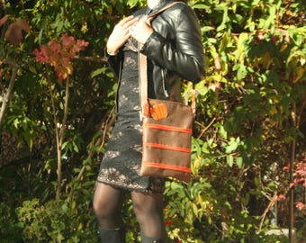shoulder bag Brown distressed leather fabric