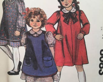 1980s Girl's Dress, McCall's 8083, Sewing Pattern, Peter Pan Collar, Front Button Dress, Annie Dress, Girl's 7 Dress, Back to School Clothes