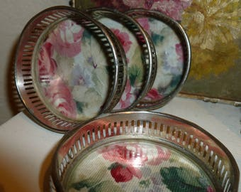 Set Of Four Vintage Silver Tone Coasters With Floral Liner Under Glass 1960's