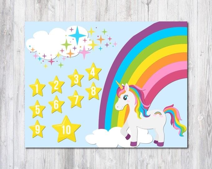 Unicorn Reward Chart - 2 Unicorn Prints - Unicorn Birthday - Behavior Chart - Kids Chore Chart - Room Decor - Rainbow Unicorn - Counting