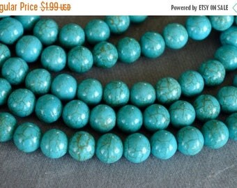 60% off CLEARANCE Turquoise Beads, 8mm, Round Synthetic Turquoise Stone Beads, 20 Beads, Stone, Gemstone, Hole 1mm