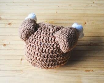 Turkey Leg Hat, Thanksgiving Baby Hat, Thanksgiving Hat, Christmas Baby Hat, Turkey Hat, Chicken Hat, Knit Turkey Hat, Crochet Turkey Hat
