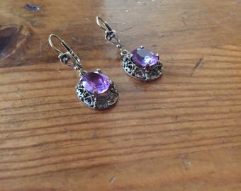 Mexican Style Lavender Earrings