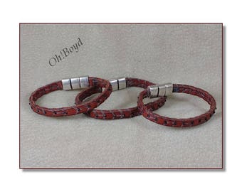 Leather Bracelets - Slim Hand Stitched, Stitched by Hand with Tiniest Seed Beads