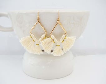 Cream and Gold Geo Tassel Earrings