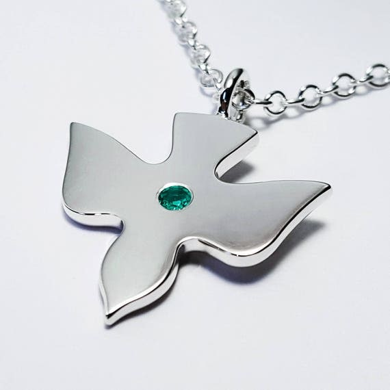 Emerald flying dove necklace pendant in sterling silver like this item aloadofball Image collections