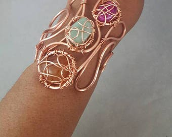 Solid Copper Wire Cuff Bracelet, Wire Bracelet, Wrapped Wire Bracelet, Cuff Bracelet, Copper Cuff
