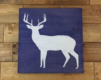Choose colors, Deer Wood Sign, Deer Sign, Painted, Deer decor, Cabin decor, Hunting decor, woodland nursery, wildlife nursery, deer nursery