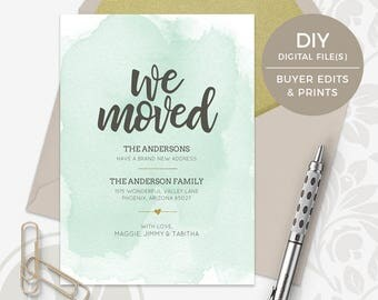 Moving Announcement - Change of Address Card, Instant Download, New Address Announcement, New Home, We've Moved, Watercolor Announcement