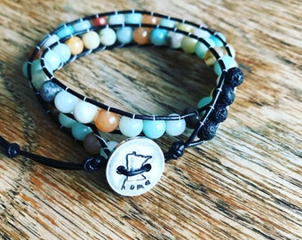 Leather Wrap Bracelet Amazonite or Other Semi Precious Stones With Essential Oil lava Beads Added