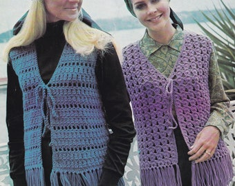 Women's crochet waistcoat PDF pattern fringed crocheted vest sleeveless cardigan INSTANT download pattern only 1970s fringe