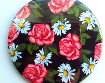 "Mirror for Purse or Pocket, 3.5"", Pink Roses and Daisies, Flowers, Floral Art,, Original Art, Handy Mirror in Organza Bag"