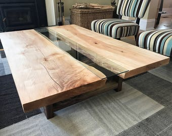 Live edge maple river coffee table with black walnut legs - Live edge designs by Plank To Table