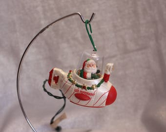 Vintage Santa Clause Christmas Ornament hanging ornament in the Sub USS Peppermint 1990