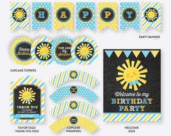 Instant Download, Sunshine Party Package, Sunshine Birthday Package, Sunshine Party Pack, Little Sunshine Printables, Chalkboard (CKB.05)