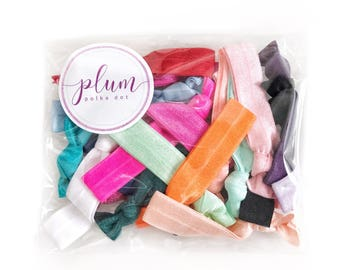 Hair Ties Bulk (25 Pack) - Christmas Stocking Stuffers for Women, Ponytail Holder Bracelet, No Crease HairTies, Gift for Her, Gifts Under 20