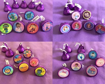 Super Why, Doc McStuffins, Sofia the First, Team Umizoomi, Elena of Avalor - Hershey's Kisses Labels, Envelope seals, Party Favors