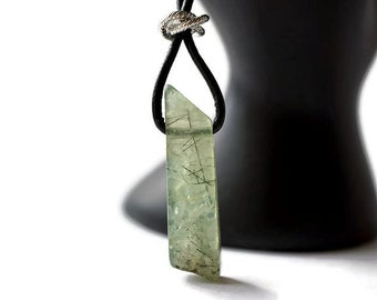 Green Gemstone necklace - Prehnite necklace - Raw gemstones - green necklace - Healing stone - natural stone - sterling silver - mens gift