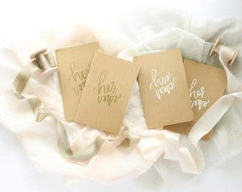 Hand Embossed Wedding Vow Books | Small Hand Lettered + Embossed Moleskine Vow Books | Small Text