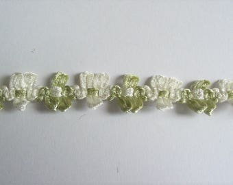 Ribbon rococo flowers green and ivory