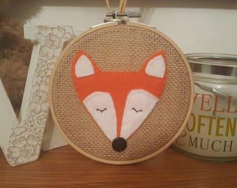 Fox hoop art. Woodland nursery. Nursery decoration
