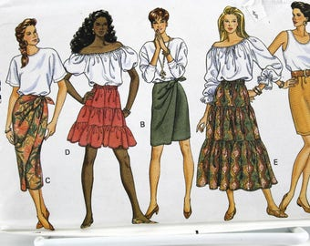 Skirt Pattern Collection, Ruffle Tiered Wrap Simple Skirt Pattern, Uncut Sewing Pattern, Butterick 5462, Size 12-16