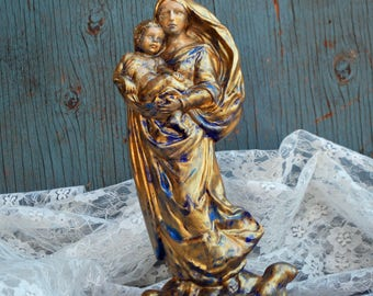 Madonna with Child Upcycled Ceramic Statue