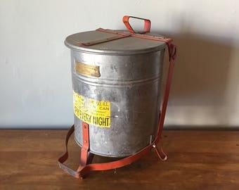 Vintage industrial aluminum rag tin trash can - great patina