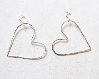 Heart Earrings, Open Heart Earrings, Sterling Heart Earrings, Large Heart Earrings, Valentine Jewelry