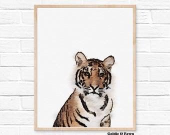 Tiger print, woodlands nursery, animal print, kids printable, watercolor tiger print, baby shower gift