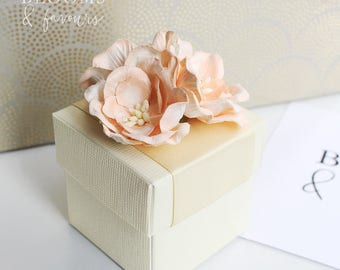 Elegant Ivory/Cream and Peach Flowers Favor/Favour Box for Wedding/Party