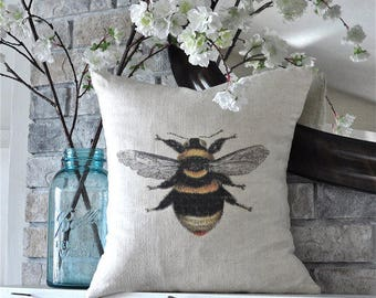 "Bumble Bee on 100% Linen Pillow Cover - 18"" x 18"""