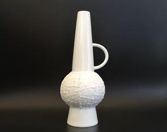 Royal  KPM Porzellan 673/0 Bavaria ( Handarbeit ) Mid Century Modern 1960s OP Art Germany bisque porcelain Vase.