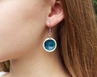 Minimalist Earrings - Handmade Ceramic Jewelry - Round Earrings - Ceramic Earrings - Elegant Earrings - Ceramic Jewellery - Blue Ceramics