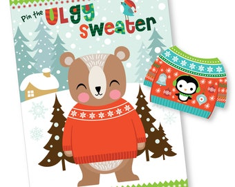 Pin the Ugly Sweater on the Bear - Ugly Sweater Party -  holiday party game - DIY party game for school parties - Holiday Crafts