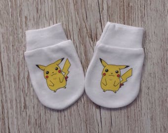 Pokemon inspirrd Cute Pikachu Baby Scratch Mitts