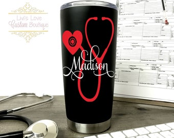Personalized Nurse / Medical Black 20 oz Vacuum Insulated Stainless Steel Travel Coffee to go cup coffee cup mug Cna / Cma/ Emt/ stethoscope
