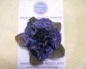 Harris Tweed Brooch deep purple corsage shabby rose pin,  womens gift for her, Christmas mothers day or birthday present made in Scotland,