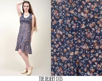 vintage 70s dress vintage 1970s navy floral midi dress with flounce neckline vintage bohemian floral sun dress