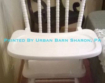 Pure White Jenny Lind High Chair -Authentic, Wood, Antique