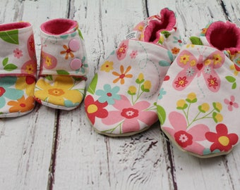 doll and me slippers - toddler slippers - Easter gifts for girls - birthday gift - doll and girl matching shoes - flower doll slippers