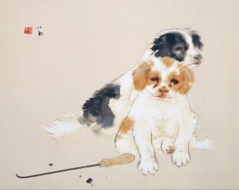 Takeuchi Seiho: Fireside (Dogs). Fine Art Print/Poster (004379)